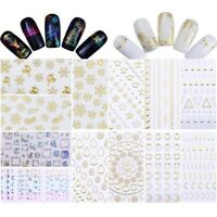 Christmas Snowflake Nail Art 3D Stickers Gold Line Transfer Decal  Tips
