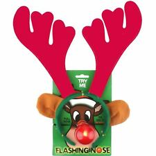 REINDEER ANTLERS HEADBAND AND FLASHING NOSE CHRISTMAS RUDOLPH COSTUME