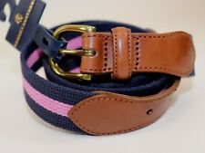 NWT BROOKS BROTHERS Size 32 Mens Navy Pink Striped Leather/Cotton Web Belt