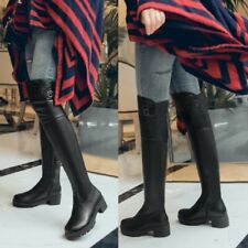 Women Over The Knee Boots Stretch Chunky Block Heel Round Toe Punk Shoes Comfort