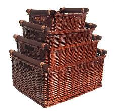 Big Large Deep Kitchen Log Wicker Storage Handle Xmas Empty Gift Hamper Basket Brown Set of 4 Medium 38x30x18cm