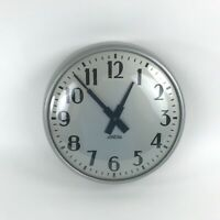 1954 Standard Company School Wall Clock Round Metal Electric Art Deco Numbers