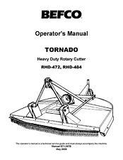 Befco Tornado Rhd 472 484 Rotary Cutter Operator Instruction Maint Amp Service Par