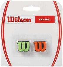 WILSON PRO FEEL SHOCK ABSORBER, TENNIS VIBRATION DAMPENER 2 PACK ORANGE / GREEN