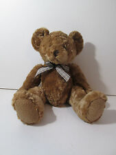 Animal Alley Golden Brown Teddy Bear Plush with Brown Plaid Bow 15""