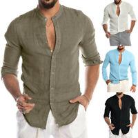Men Linen Shirt Solid Long Sleeve ONeck Button Casual Office Tops Blouse T Shirt