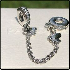 NEW Authentic Genuine Pandora Decorative Butterflies Safety Chain Charm s925 ALE