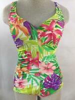 Maxine of Hollywood 1 piece size 8 bathing suit purple green floral padded bra