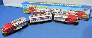 Wind Up Tin Train ~ Express Passenger Commuter Train ~ Key Wound Mechanism