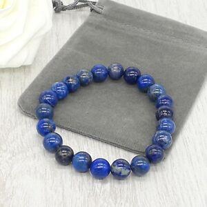 Handmade Natural Lapis Lazuli Gemstone Stretch Bracelet & Velvet Pouch. 4/6/8mm.