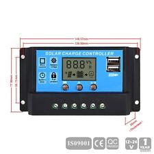 Lcd 20A 12V/24V Pwm Solar Panel Battery Regulator Charge Controller Timer Usb #W