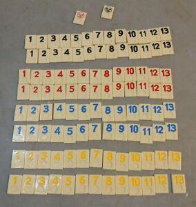 Pressman Rummikub 1990 Replacement Tiles Full Set 106 Tiles with Jokers EUC