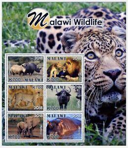 2019 Malawi, fauna, rhinos, lions, elephants, Hippo, Buffalo, sheet, MNH