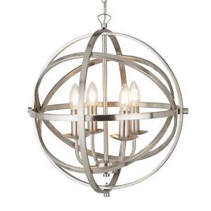 Searchlight Orbit 4 Lights Cage Frame Orb Satin Silver Chandelier Pendant Light