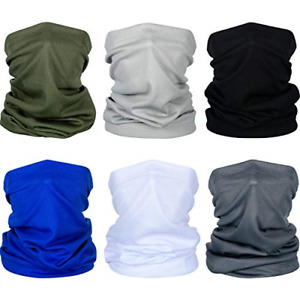 6 Pieces Summer Face Cover UV Protection Neck Gaiter Scarf Sunscreen Breathable
