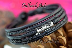 1B-820 Genuine Sterling Silver Leather Black Onyx Armband Wristband Men Bracelet