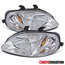 For 99-00 Honda Civic 2/3/4Door Crystal Chrome Clear Headlights Pair