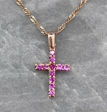"""Pink Sapphire Cross Necklace, 14K Rose Gold, 16"""""""