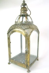 Lantern Gold Ornate Large Metal Lantern Antique Design with Curved Glass detail
