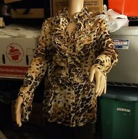 Spiegel Animal Print Ruffle Front Blouse Size 12 Top NWT in Package (OA5B05)