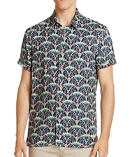 Scotch & Soda Printed Regular Fit Button-Down Shirt, Size M, MSRP $95