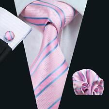 Men's Tie Pink Blue Striped Silk 100% Jacquard Woven Wedding Neckties Set SN-433