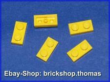 Lego 5 x Platte (1 x 2) Platten - 3023 gelb - Yellow Plate Plates - NEU / NEW