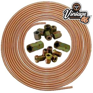 """MG MGB GT 25ft 3/16"""" Copper Brake Pipe Male Female Nuts Joiner Tube Joint Kit"""