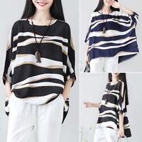 ZANZEA Women Long Batwing Sleeve Casual Stripe Wave Loose Blouse Shirt Tops Plus