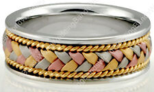 Solid 14K Gold Hand Braided Tricolor Men Women Wedding Band Ring 8mm Wide