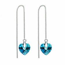18k White Gold  Earrrings  Threader Made with Swarovski ElementsTeal Blue Heart