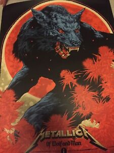 Metallica Of Wolf And Man Limited Edition Numbered Screen Printed Poster 106/500