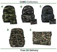 CAMO Backpack Rucksack Camouflage Cool Army Camping School Gym Goth Travel Bag