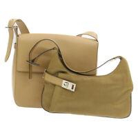 SALVATORE FERRAGAMO Gancini Shoulder Bag 2Set Beige Auth 19105