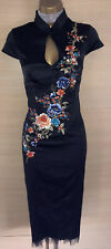 Exquisite Karen Millen Black Oriental Embroidered Midi Dress UK10 Stunning