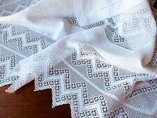 "Antique White Linen Tablecloth Lavish Wide Handmade Crochet Lace Victorian 44"""