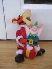 "Santa Tigger & Piglet Disney Store 10"" Christmas Soft Toy Winnie The Pooh Beanie"