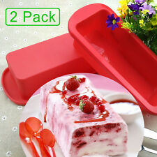 2 Pack Silicone Rectangle Bread Pan Cake Cornbread Brownie Baking Mold Bakeware