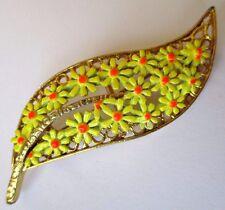 Originale broche Bijou vintage couleur or feuille fleur jaune émail couleur 325
