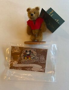 """DEB CANHAM'S """" WINNIE THE POOH"""" MINIATURE MOHAIR 3""""-DISNEY EVENT WITH PIN 1999"""
