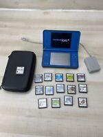 Nintendo DSi XL Handheld Gaming System Blue 15 Games Bundle W/ Case & Charger