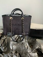 CHANEL 20P BLACK DEAUVILLE TOTE GOLD 2020 GST GRAND SHOPPING BAG