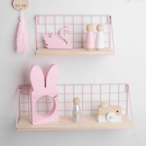DIY Wooden Iron Shelf Wall Mounted Storage Organizer For Bedroom/Kitchen Décor