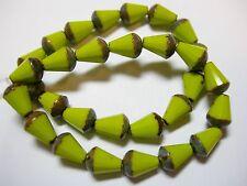 15 Czech Glass Avocado Green Picasso Faceted Teardrop Beads 8x5mm