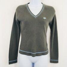 Fox V-neck Long Sleeve Sweater Gray Blue Ribbed Size Medium