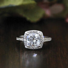 Certified Excellent Cushion Cut 2.40Ct Diamond Engagement Ring 14K White Gold