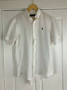 Ralph Lauren Classic Men's White Linen Button Down Short Sleeve Shirt Med