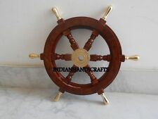 Nautical Teak Wood Wheel Steering 18'' Brass ring & Handle(Artistic Antiques)