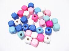 50pz misti perline cubo in legno 10x10mm colori vari