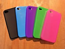 SET OF 5 COLOURED SOFT SILICONE RUBBER GEL CASES COVERS SKINS - APPLE iPHONE 4